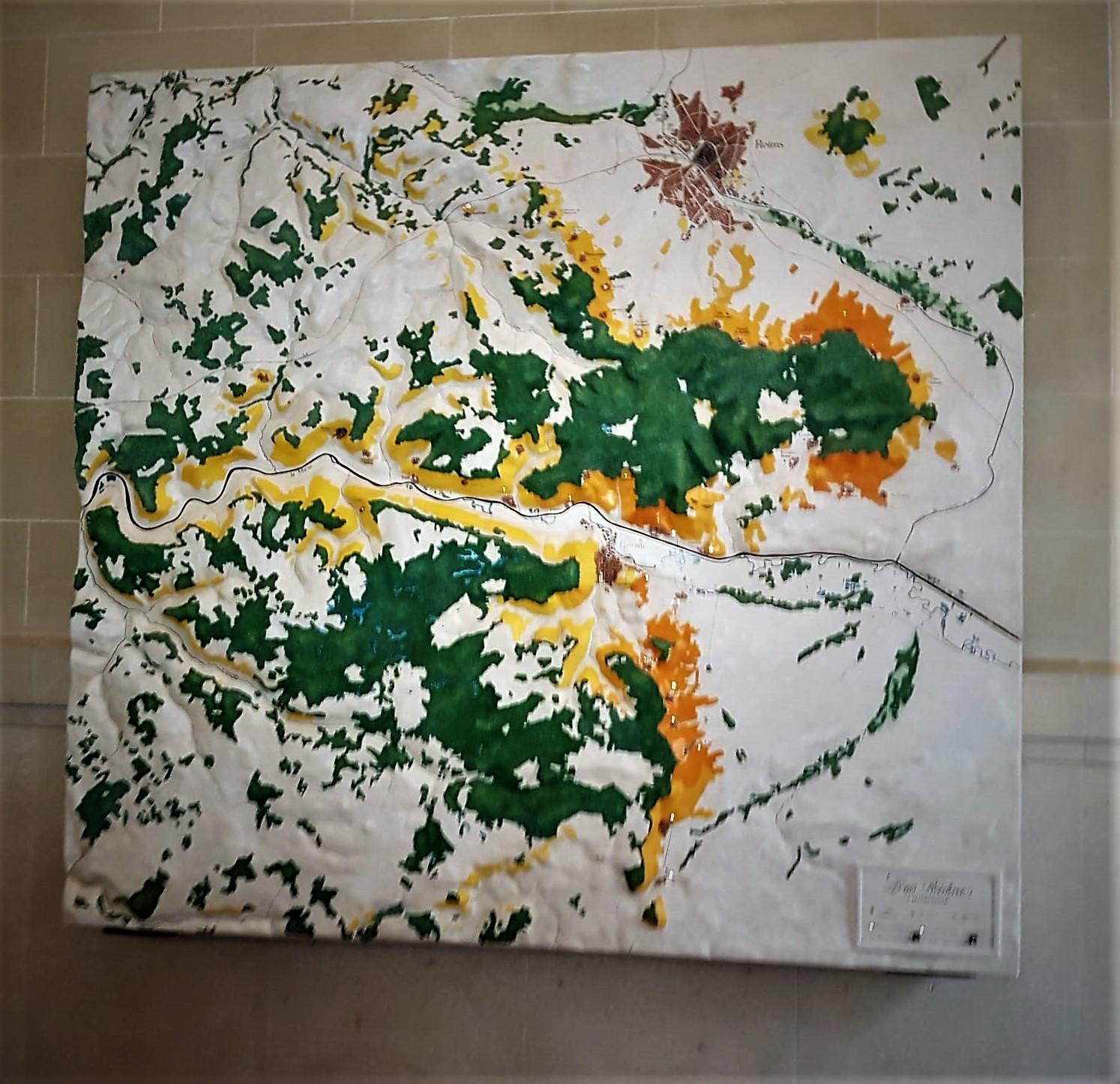 magnifica cartina che illustra le proprietà dei Vigneti della Maison