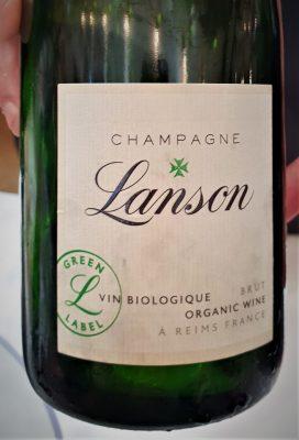 Champagne Lanson brut organic wine.
